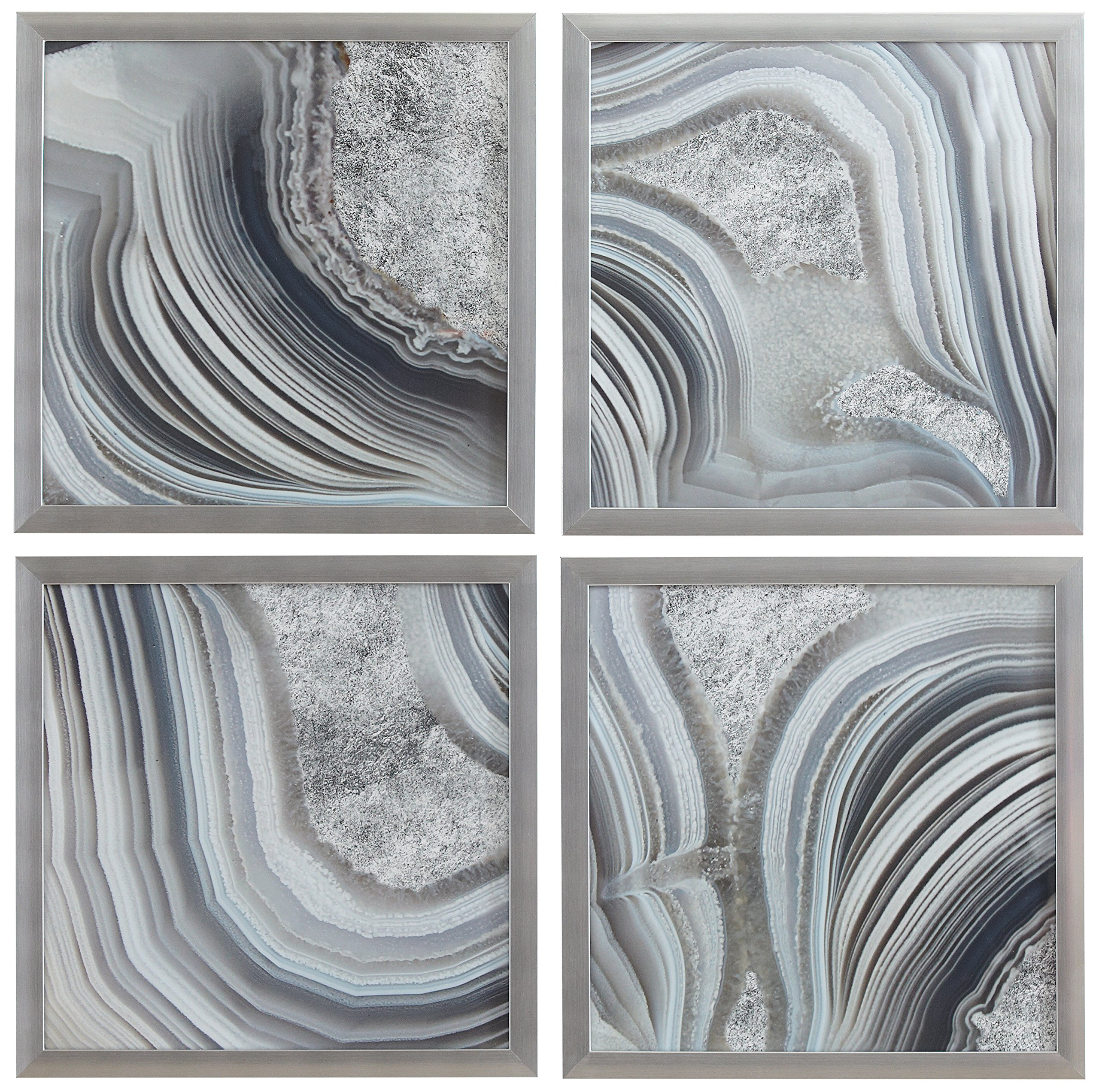 Set of 4 Silver Geodes Prints in Silver Frames, 12'' x 12'' each (24'' X 24'' overall) by Rivet
