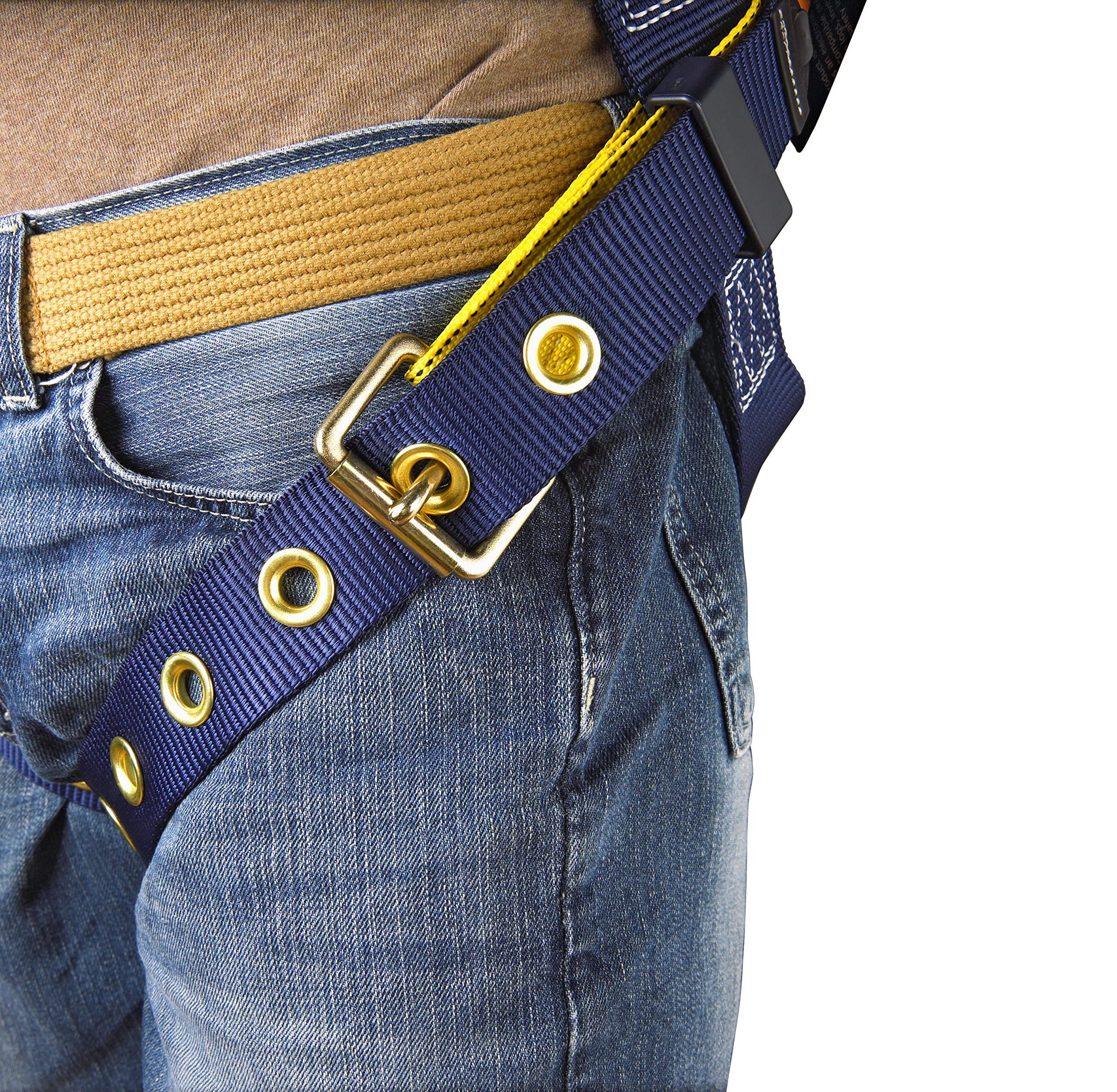 3M DBI-SALA Delta 1101654 Construction Harness, Back/Side D-Rings, Belt w/Sewn-In Back & Shoulder Pads, Tongue Buckle Leg Straps, Medium, Navy/Yellow by 3M Fall Protection Business (Image #5)