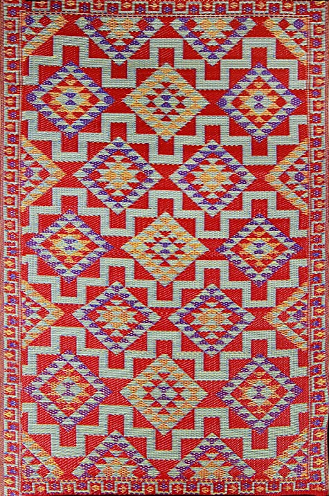 Amazon Com Red Kilim Indoor Outdoor Reversible Plastic Rug 6x9