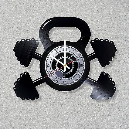 Amazon.com: vinyl record wall clock gym bodybuilding no pain no gain