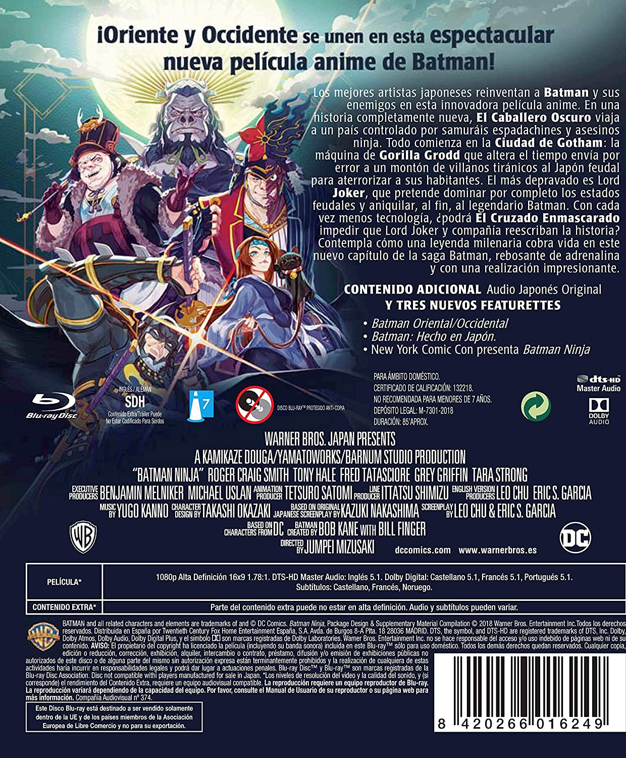 Batman Ninja Blu-Ray [Blu-ray]: Amazon.es: Personajes ...