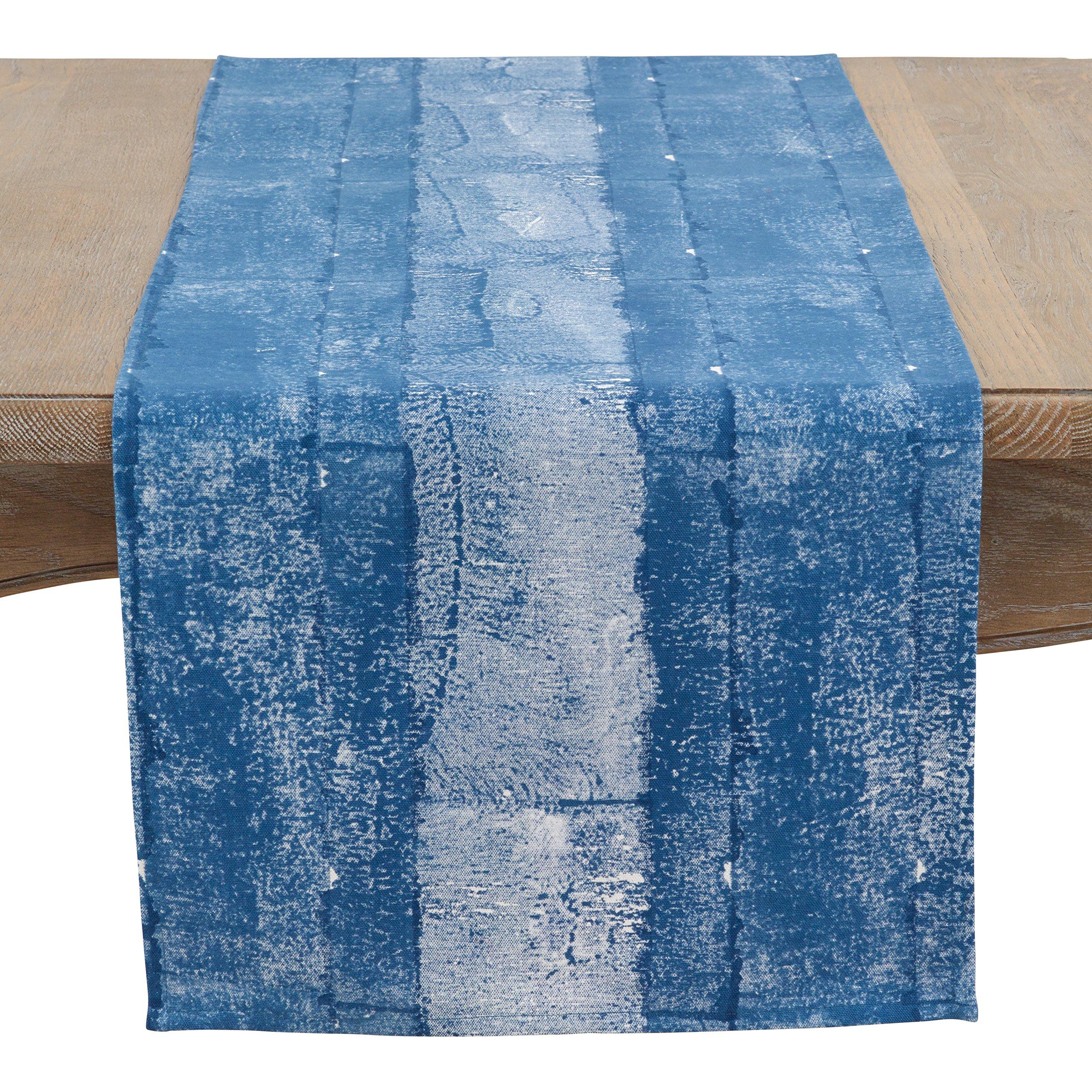 SARO LIFESTYLE Inkodye Collection Table-Toppers, 16'' x 72'', Indigo