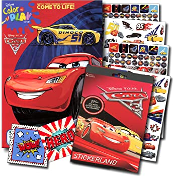 Disney Cars 3 Coloring Book And Stickers Super Set Bundle With Specialty Jumbo Reward