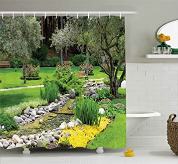 Garden Decor Shower Curtain By Ambesonne, Japanese Park Style Recreational  View With Pond Grass Stones