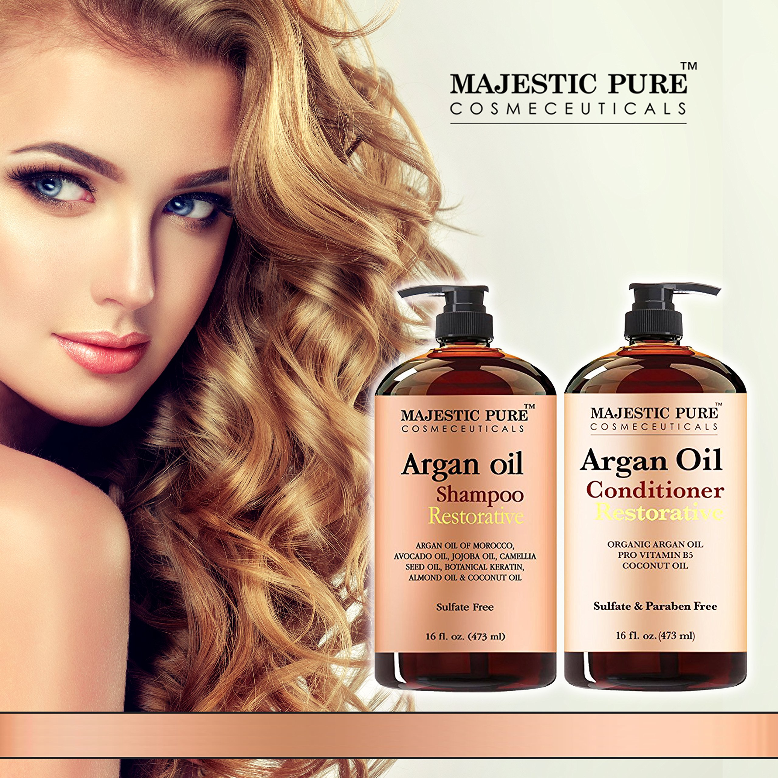 Argan Oil Shampoo and Conditioner, from Majestic Pure, Sulfate Free, Vitamin Enriched, Volumizing & Gentle Hair Restoration Formula for Daily Use, For Men and Women, 16 fl oz each … by Majestic Pure (Image #2)