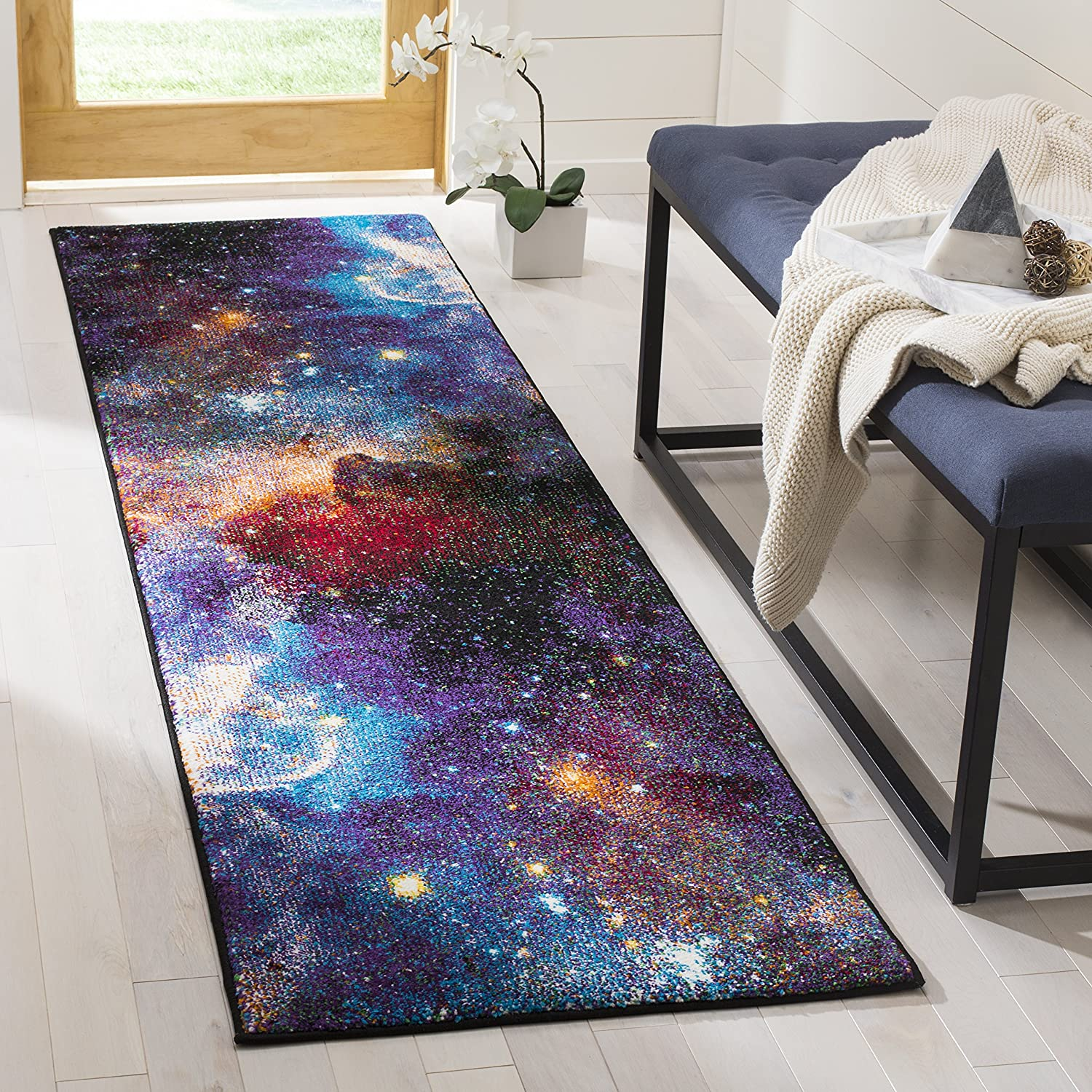 Amazon Com Safavieh Galaxy Collection Gal109p Abstract Non Shedding Stain Resistant Living Room Bedroom Area Rug 9 X 12 Purple Multi Furniture Decor