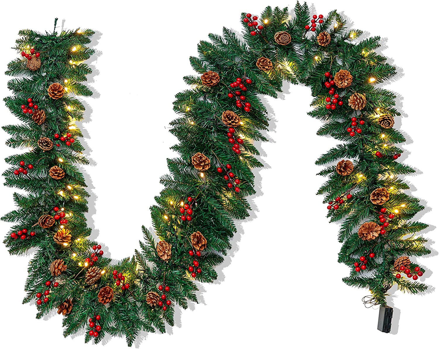 Joiedomi 9Ft Artificial Christmas Garland Prelit with 100 LED Lights, 27 Pine Cones, 27 Red Berries for Home & Office Christmas Decorations (Battery Powered, Batteries not Included)