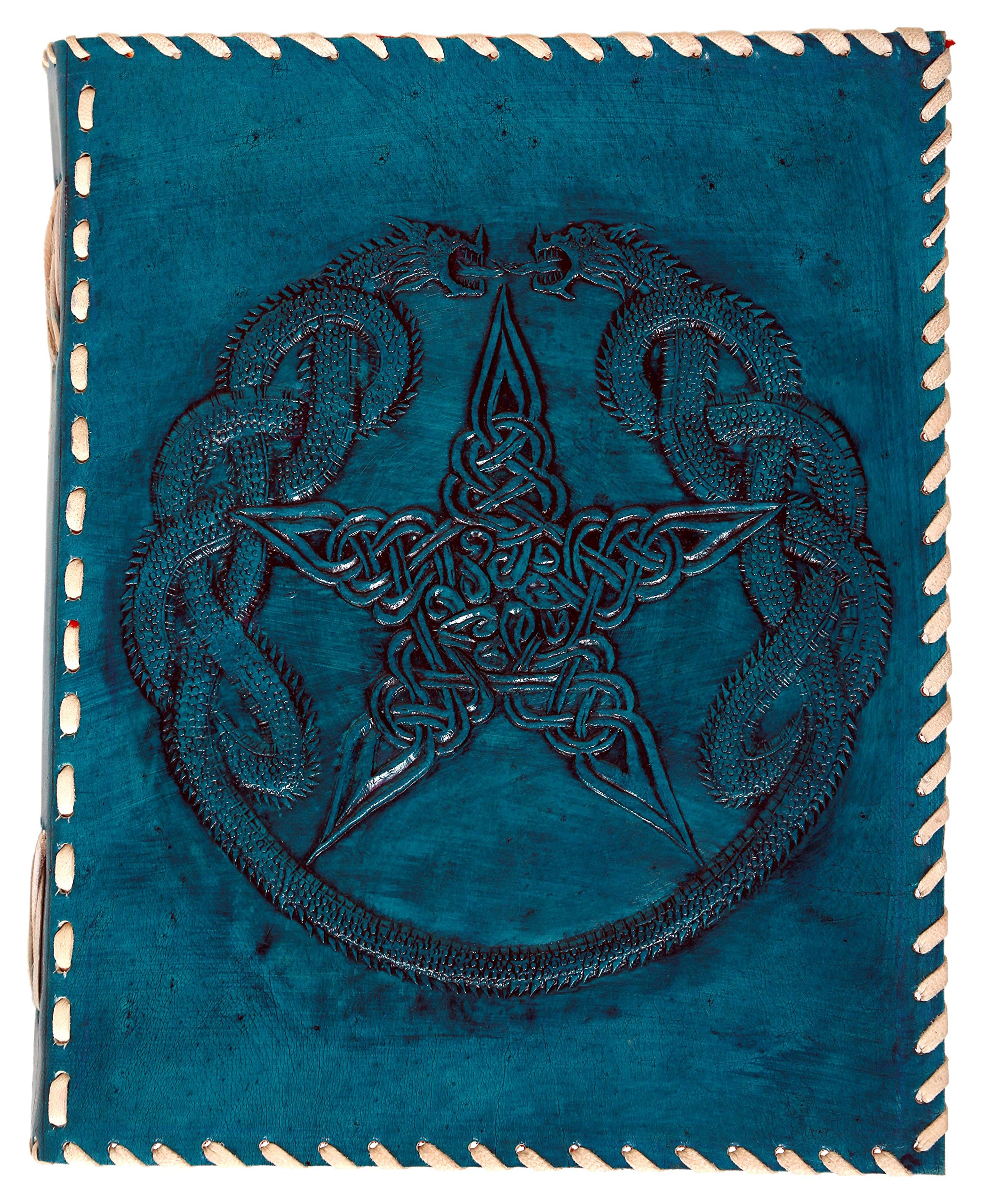 Imperial Vintage Leather Handmade Journal 9X7'' Embossed Dragon and Pentagon Star Notebook, Diary, Sketchbook, Travel and Thought Blank Book for Writing & Sketching - Turquoise