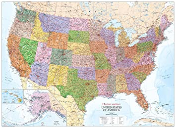 United states of america wall map usa paper copy amazon united states of america wall map usa paper copy sciox Gallery