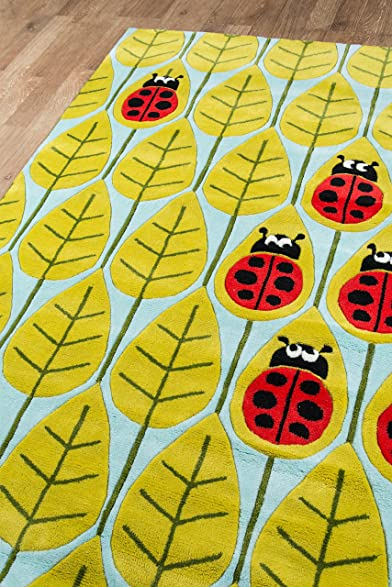 Amazon.com: Momeni Rugs LMOJULMJ13LBR5070 Lilu0027 Mo Whimsy Collection, Kids  Themed Hand Carved U0026 Tufted Area Rug, 5u0027 X 7u0027, Lady Bug Red: Kitchen U0026  Dining