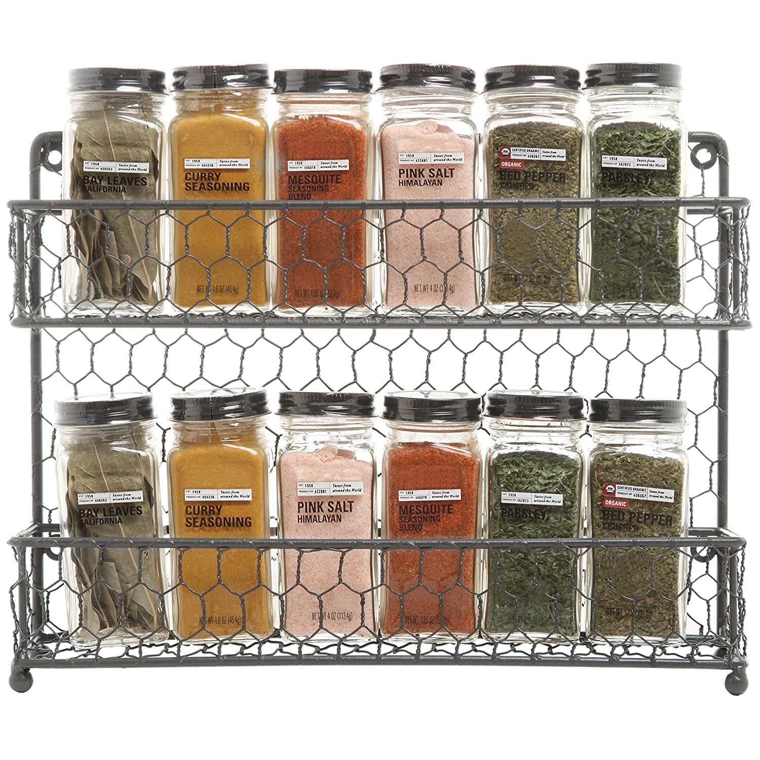 Amazon.com: MyGift Rustic Gray Dual Tier Wire Spice Rack Jars Storage  Organizer (Kitchen Countertop Or Wall Mount): Kitchen U0026 Dining