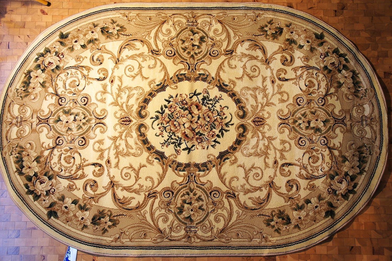 Karatcarpet Klassischer Oval Teppich Kurzflor Kollektion Lotos ov519 100 Hell Braun, Beige, Seidenglanz, Muster  Blumen, Ornamente (200x300 cm)