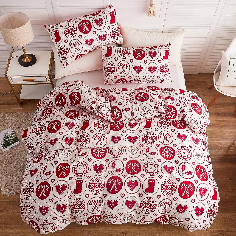 LAMEJOR Duvet Cover Sets Queen Size Christmas Theme Snowflake/Heart Pattern New Year Holiday Season Bedding Set Comforter Cover (1 Duvet Cover+2 Pillowcases) White