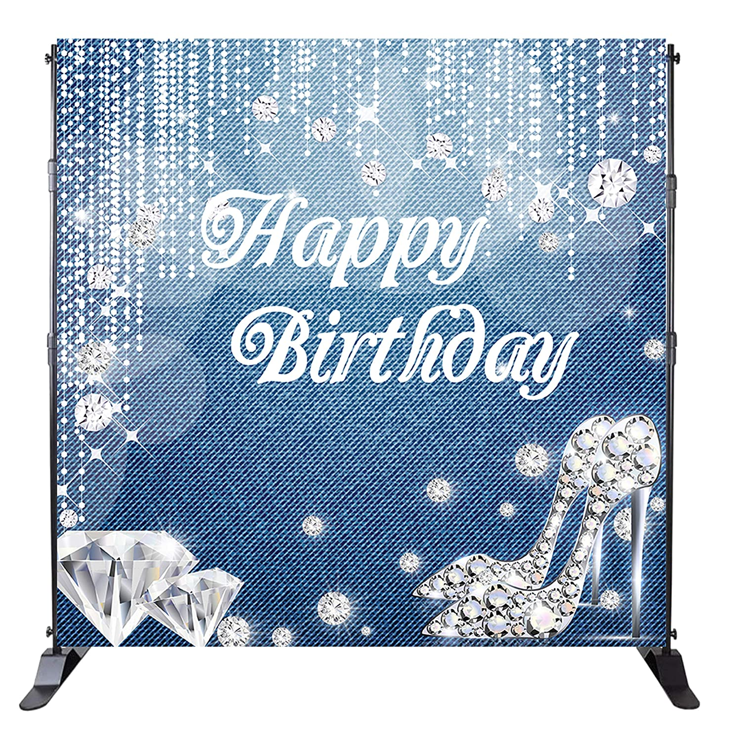 Mehofoto Happy Birthday Backdrop Denim Diamonds Background Crystal Shoes Birthday Party Banner Decoration Woman Customized 8x8ft Vinyl Photo Studio
