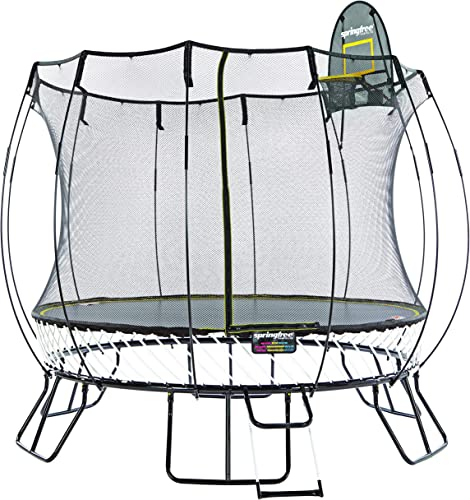 Springfree Trampoline 8 10 11 13ft Oval Round Square Springless Trampolines with Safety Enclosure, Basketball Hoop and Ladder
