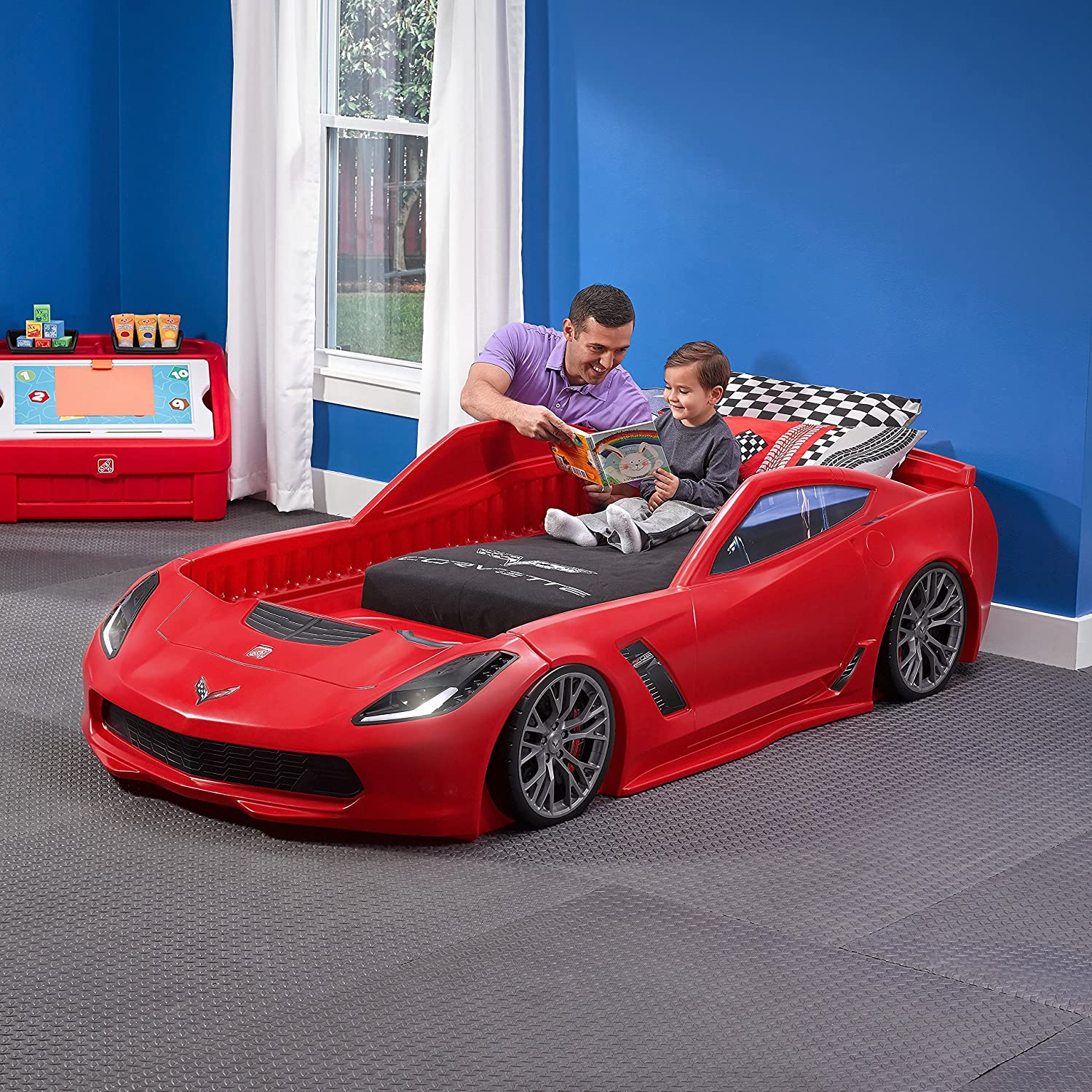 Amazon.com: Step2 Corvette Z06 Toddler Bed to Twin Bed: Toys & Games
