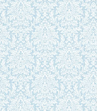 Warner Ccp12261 Angela Transparent Damask Wallpaper Blue