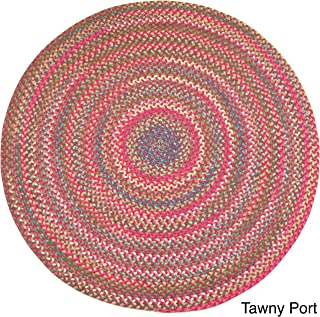 product image for Rhody Rug Charisma Indoor/Outdoor 8-Foot Round Braided Rug by - 8' Round Burgundy