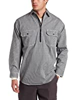 Key Apparel Men's Long Sleeve Zip Front Hickory Stripe Logger Shirt