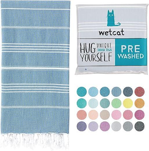 Wetcat Original Turkish Beach Towel (39 x 71) - Prewashed Peshtemal, 100% Cotton - Highly Absorbent, Quick Dry and Ultra-Soft - Washer-Safe, No Shrinkage - Stylish, Eco-Friendly - [Denim Blue]