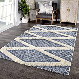 "product image for Orian Rugs Navajo Indoor/Outdoor Four Corners Area Rug, 5'1"" x 7'6', Blue"