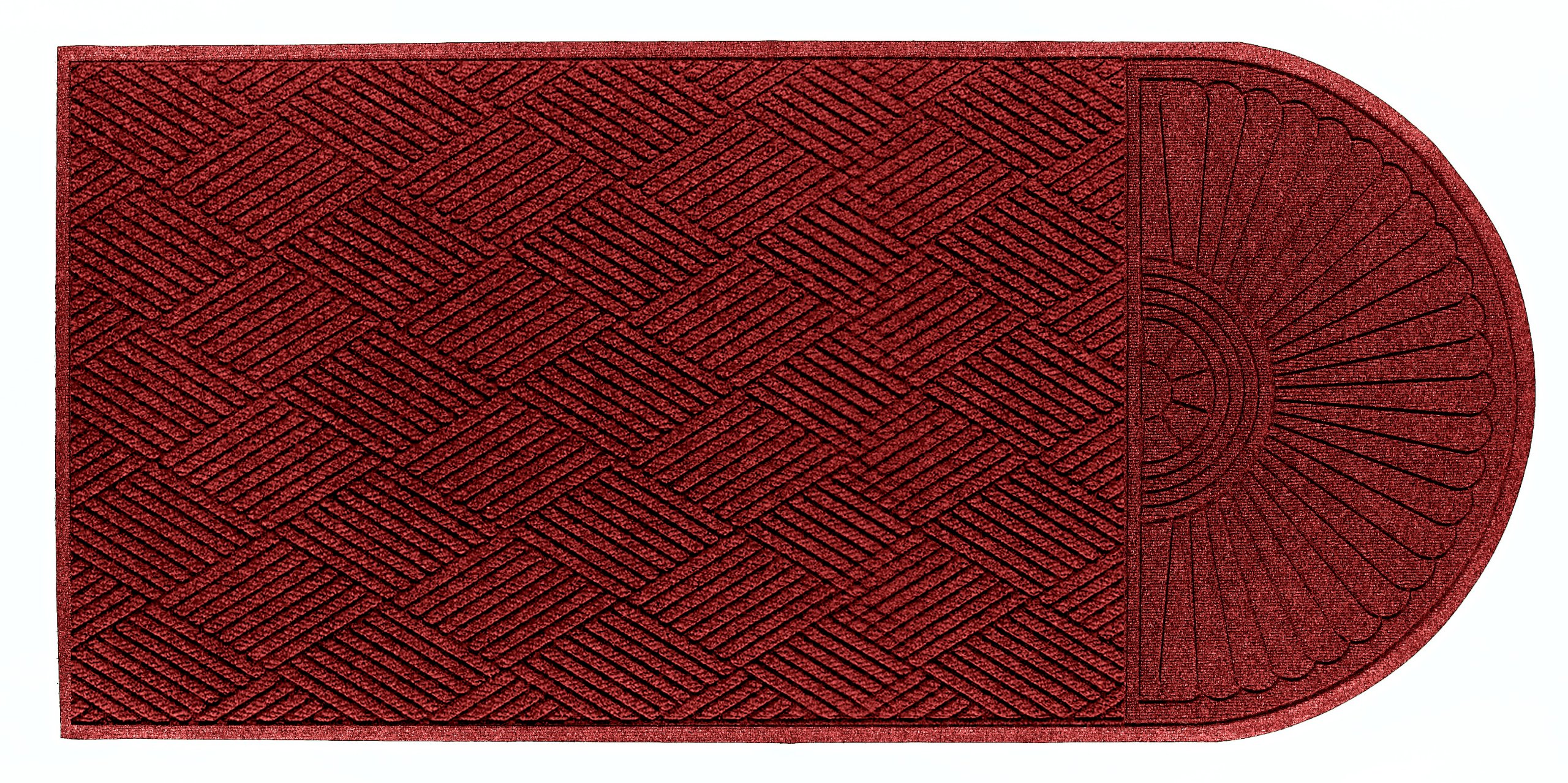 Andersen 273 Waterhog Grand Classic Polypropylene Fiber Single End Entrance Indoor/Outdoor Floor Mat, SBR Rubber Backing, 10' Length x 3' Width, 3/8'' Thick, Red/Black