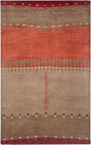 Rizzy Home Mojave Collection Wool Area Rug, 3 6 x 5 6 , Maroon Tan Orange Beige