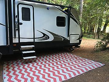 Elegant Rv Mat Patio Rug Chevron Pattern 9x12 Dark Red/Gray