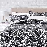 Amazonbasics 300TC 100% Cotton 3pc Comforter Set - Watercolor Diamond - King, Gray