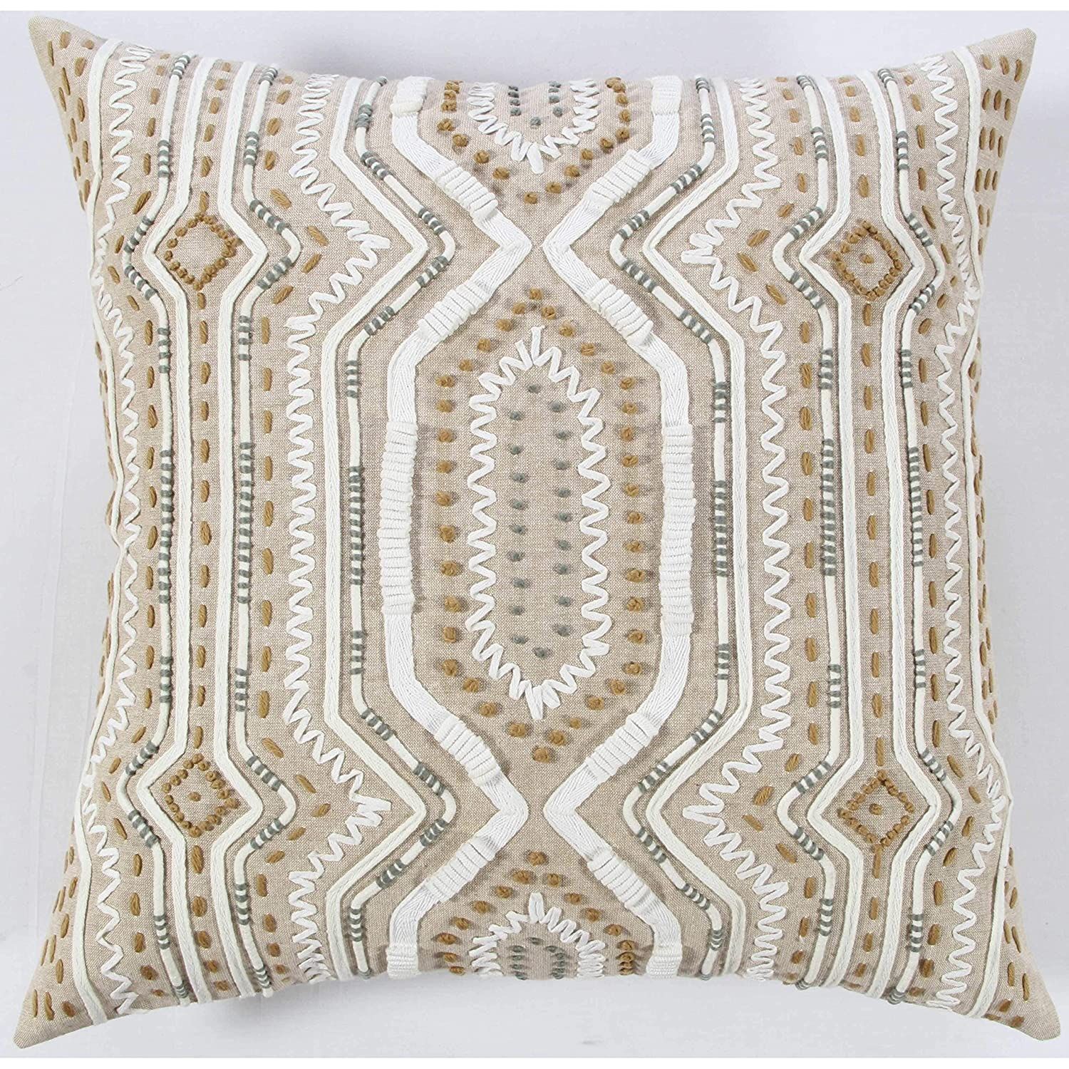 Rizzy Home T12355 Decorative Poly Filled Throw Pillow 20 x 20 Lt Brown//White