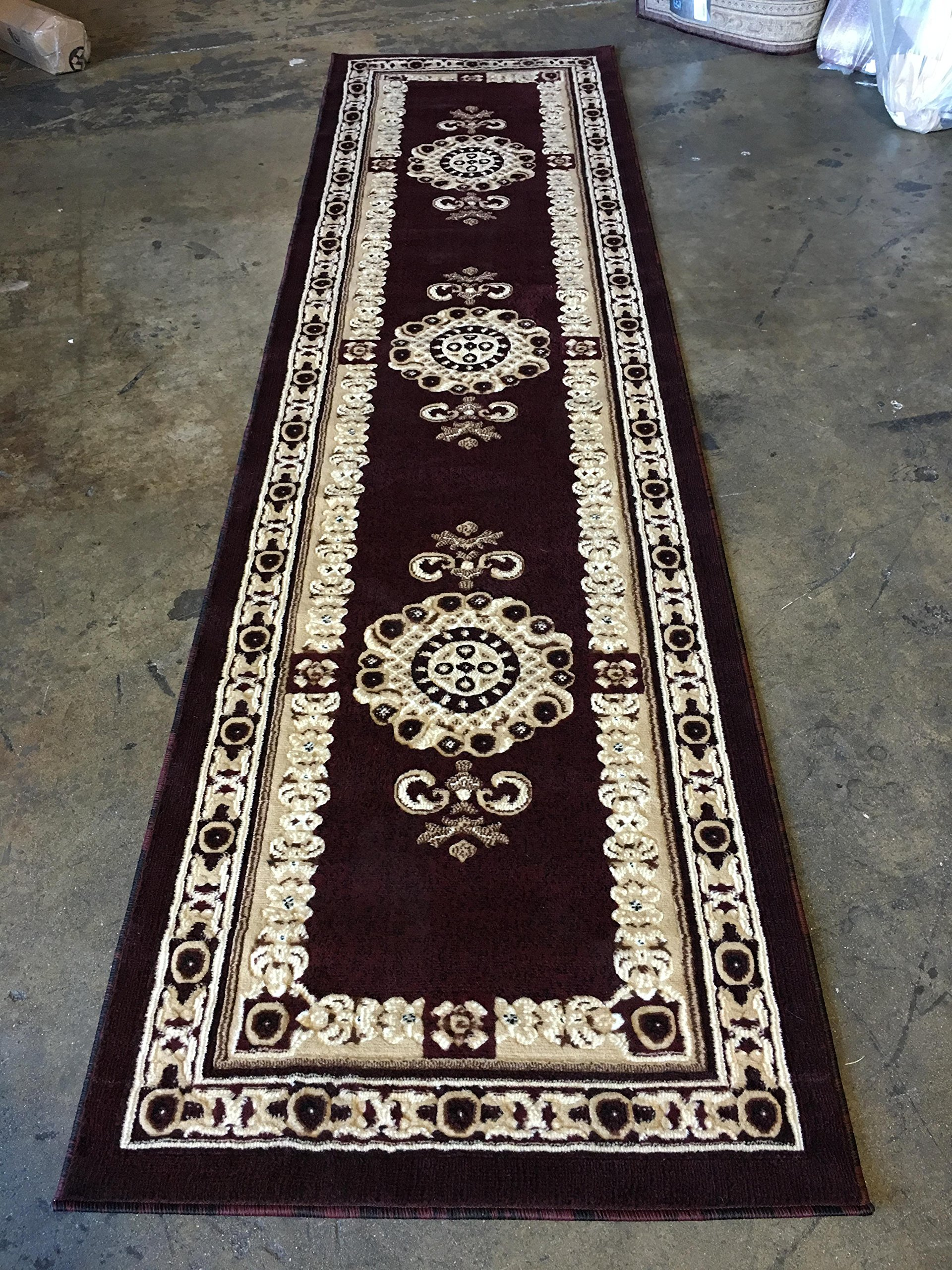 Americana Traditional Long Persian Runner Area Rug Burgundy Design 121 (32 Inch X 10 Feet) - Traditional Long Persian Runner Rug Burgundy Design 121 Americana (32 inch x10 feet ) Quality textured machine made traditional design with Burgundy, brown, black and beige. Easy to clean (stain resistant and soil proof)and very durable. - runner-rugs, entryway-furniture-decor, entryway-laundry-room - A1a4wtzOIeL -