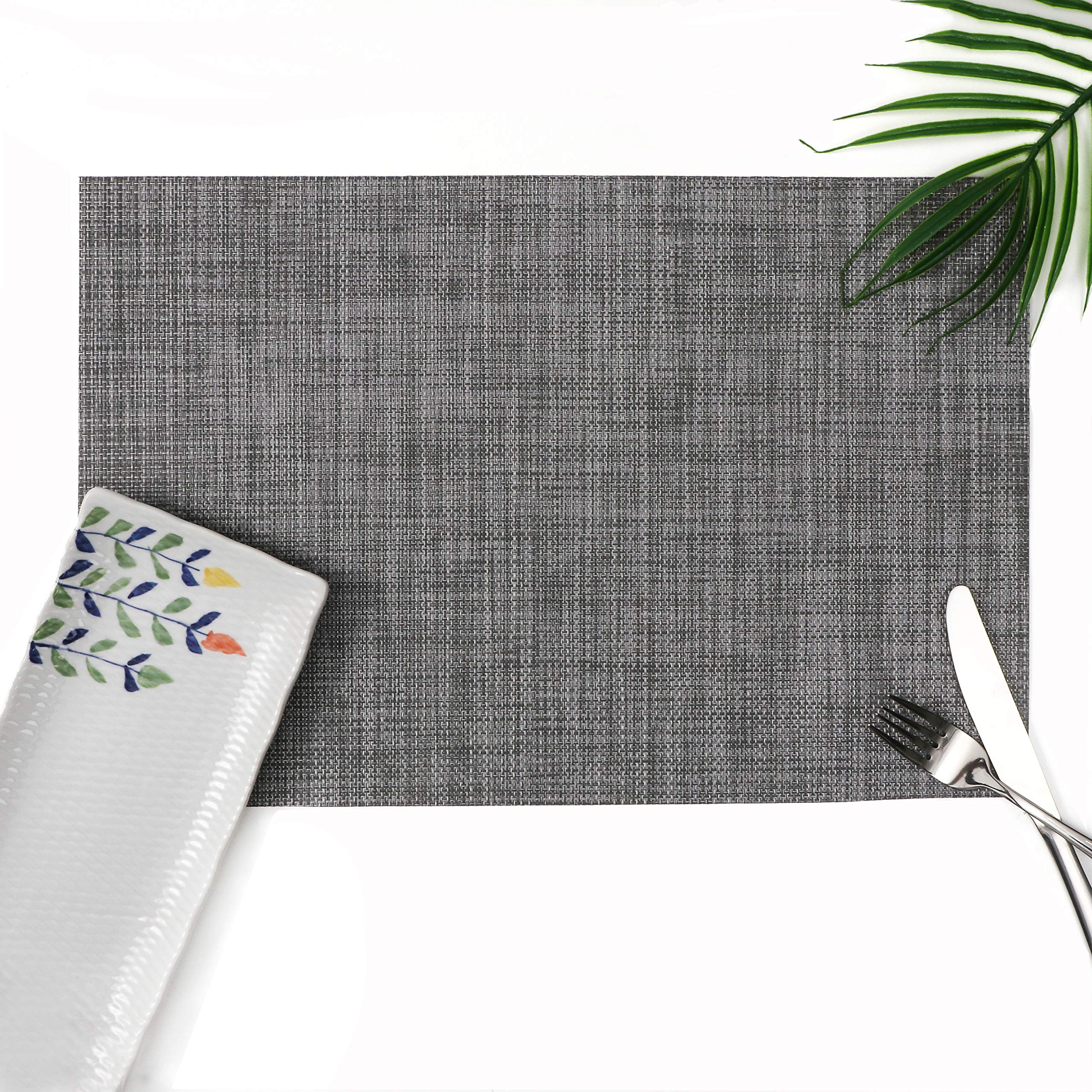 Millie Home Placemats for Dining Table Vinyl Heat Resistant Wipeable Placemat Non-Slip Washable PVC Kitchen Place Mats Set of 4,Gray White