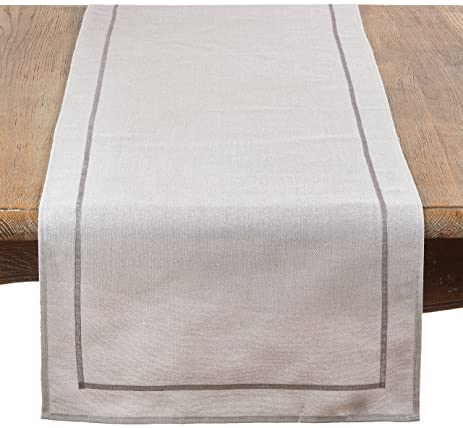 GY1672B Shimmering Fabric Table Runner, Grey, ...