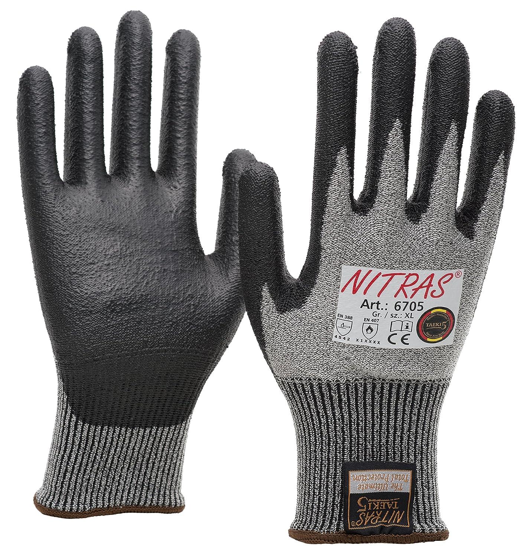 20 Paar NITRAS 6705 Schnittschutzhandschuhe Taeki5, Stufe 5, PU Beschichtung, schwarz/grau, Gr. S - XXL (XXL) (S)