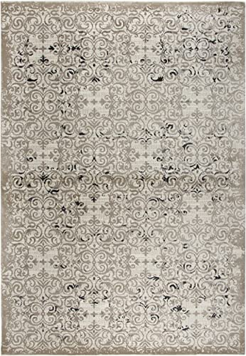 Rizzy Home Panache Collection Polypropylene Area Rug, 2 3 x 7 7 , Beige Taupe Gray Black Medallion
