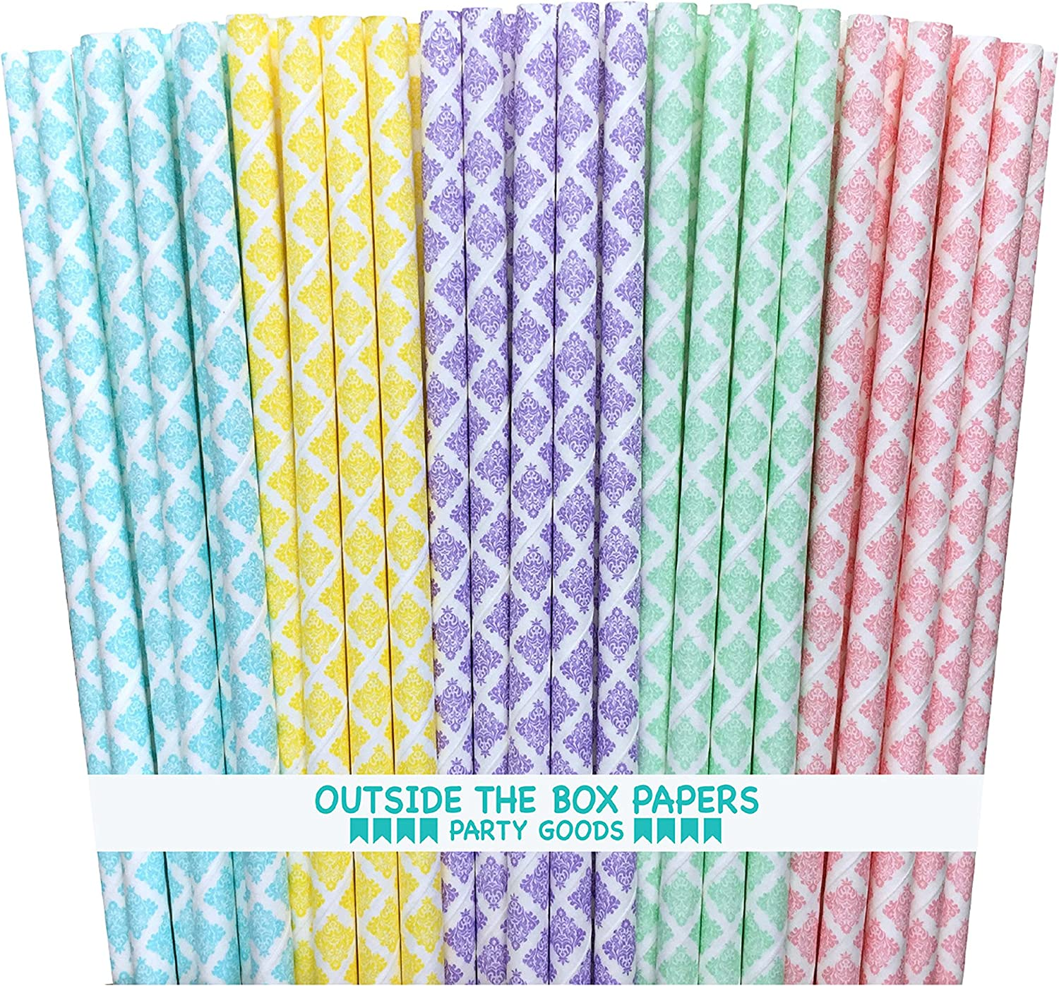 Pastel Polka Dot Paper Straws Pink Yellow Light Blue Mint Green 7.75 Inches 100 Pack