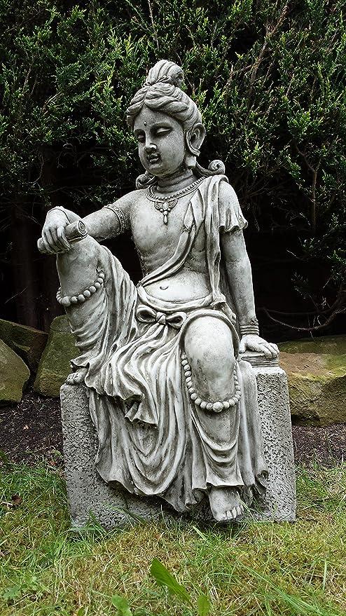 Decoraciones de jardín por onefold BU20 Grande Indio Buda jardín Estatua de Piedra, Gris, 31 x 30 x 69 cm: Amazon.es: Jardín