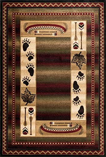 Great American Distributors Rustic Cabin Lodge Tribal Southwestern Cozy Area Rug – Red Green Beige – Canoe, Bear Paws – Living Room Rug – Hallway, High Traffic – Stain Fade Resistant 7 10 x 10 2