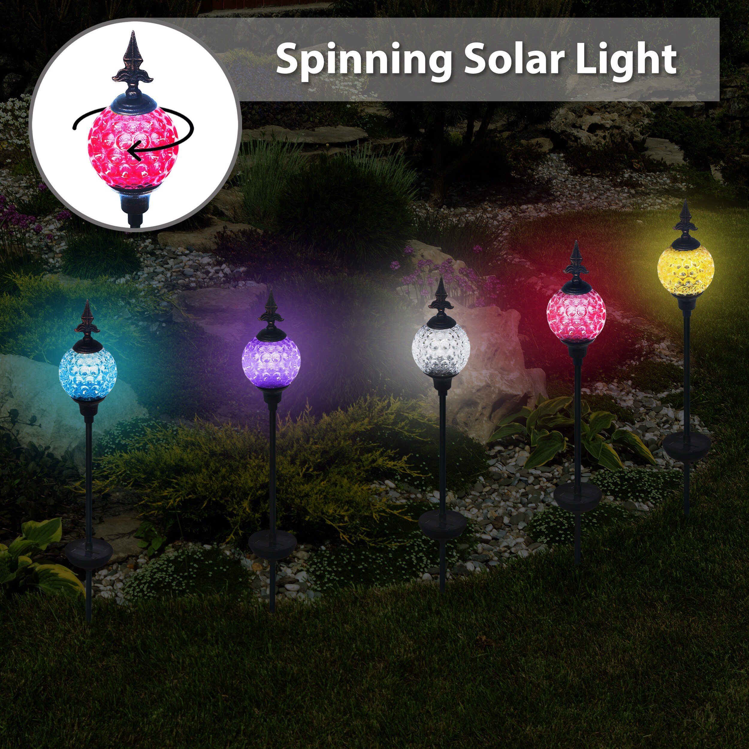 Solario Crackle Ball Solar Lights with Spinning Ball & Decorative Copper Top   Heavy Duty Stainless Steel Stakes   Color Changing Stake Lamps   Accent Lighting for Garden/ Yard/ Driveway (3 Pack)