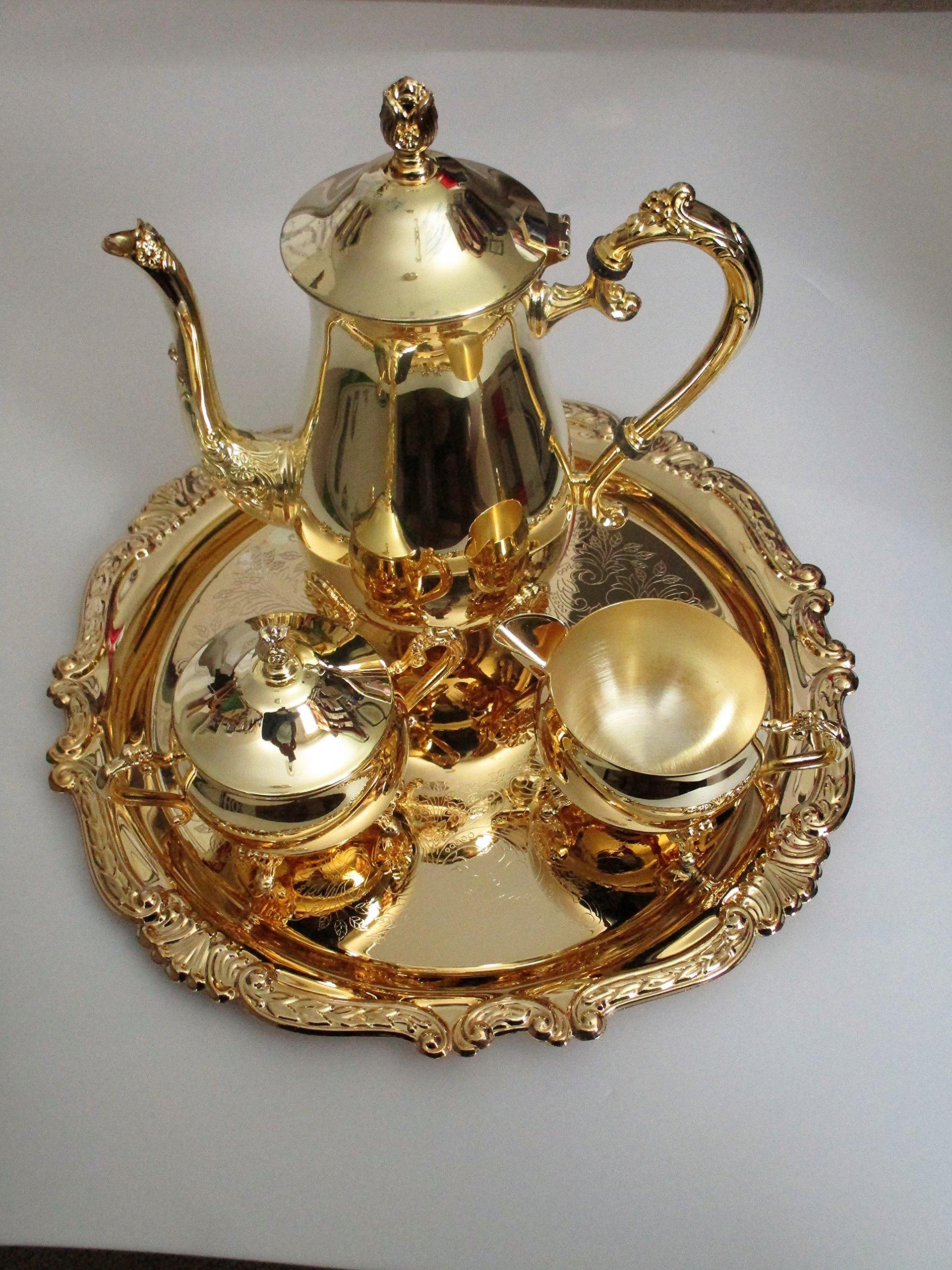 Sheridan Baroque Goldplated 4 pc. Coffee Set ... Coffee Pot, Creamer, Covered Sugar Bowl & Tray