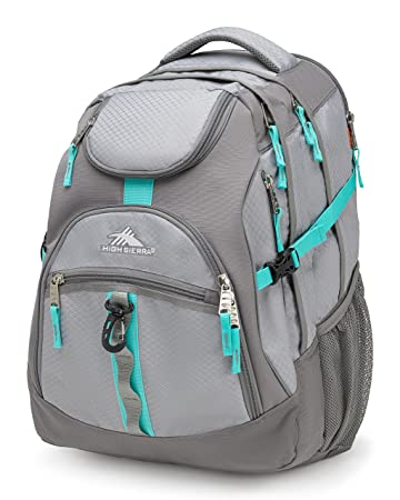 High Sierra Access Laptop Backpack Ash Charcoal Aquamarine