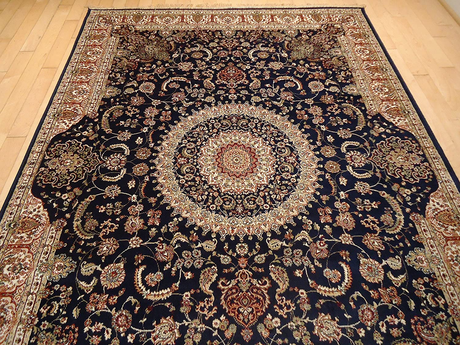 Amazon Luxury Silk Persian Area Rugs Navy Living Room 8x12 Traditional 8x11 Dining Rug Tabriz Design Low Pile Kitchen