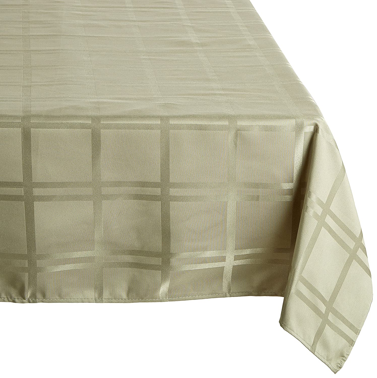 Christmas Tablescape Decor - Elegant formal sage easy care spill-proof microfiber fabric rectangular tablecloth