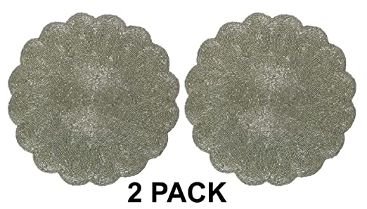 Silver Scalloped Round Hand Beaded Placemat Set - These hand beaded scalloped placemats will look fabulous on a Christmas tablescape | http://christmastablescapedecor.com/elegant-silver-table-setting/