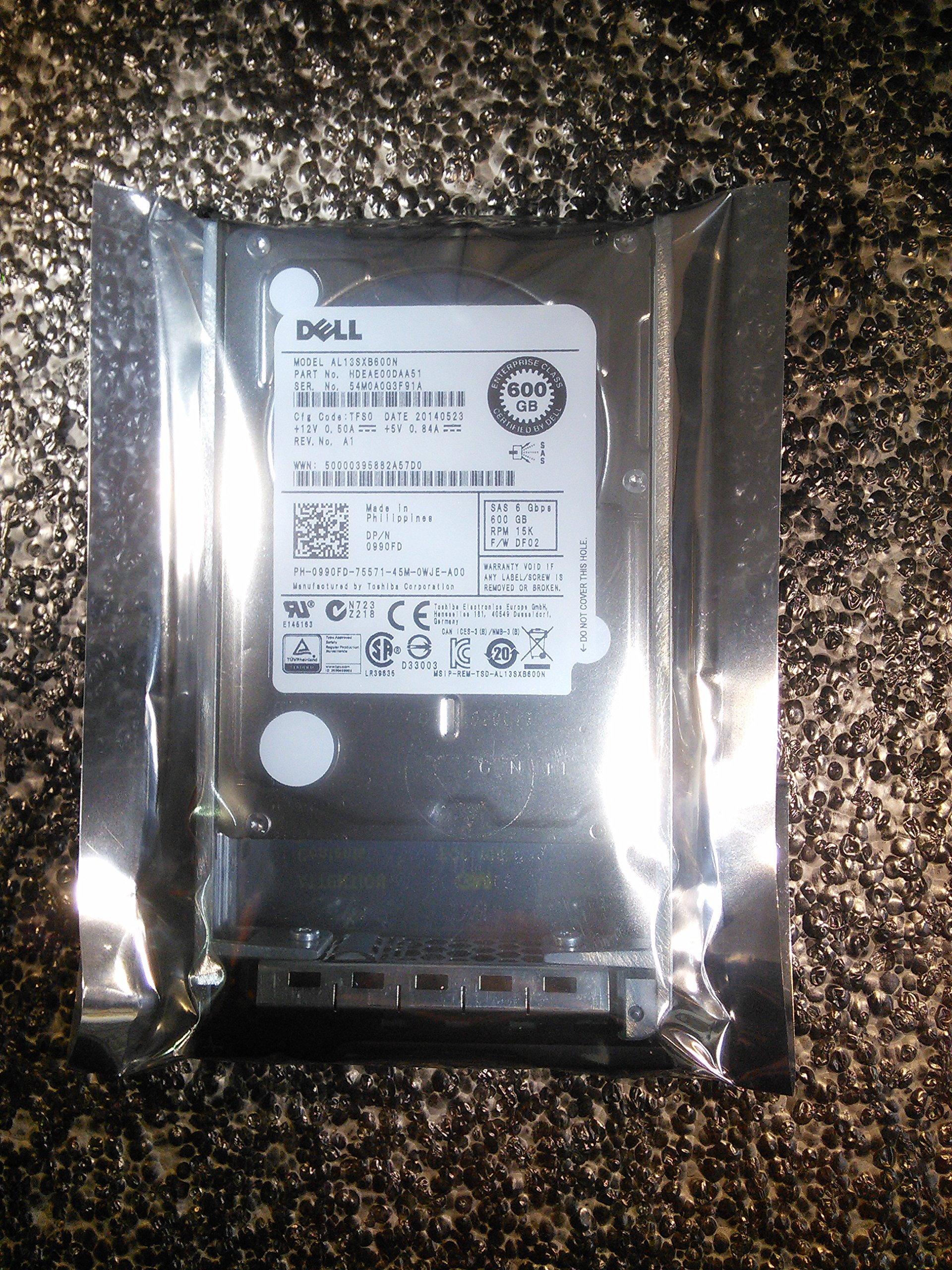 990FD-DELL ORIGINAL 600GB 15K 2.5'' SAS 6Gbps HDD by Dell