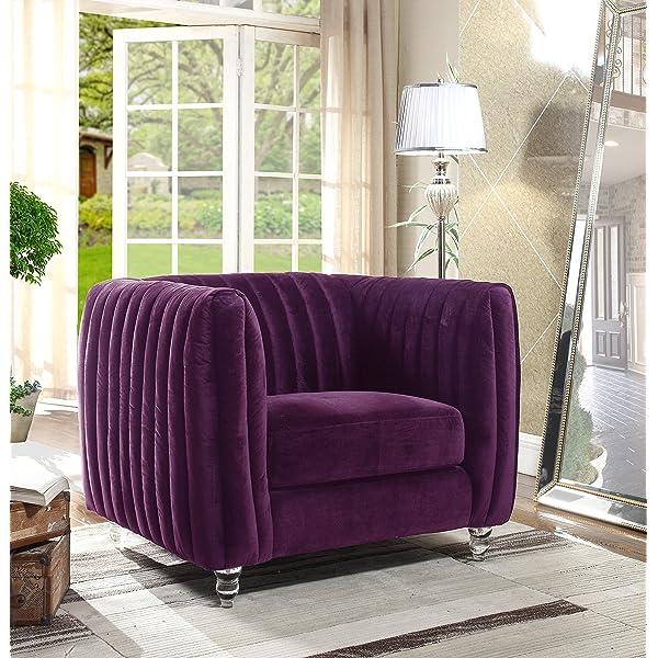 Iconic Home Kent Elegant Velvet Modern Contemporary Plush Cushion Seat Round Acrylic Feet Club Chair, Purple