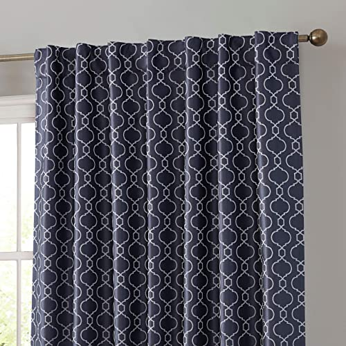 HLC.ME Franklin Moroccan 100 Complete Blackout Thermal Insulated Energy Savings Heat/Cold Blocking Back Tab Rod Pocket Curtain Drapery