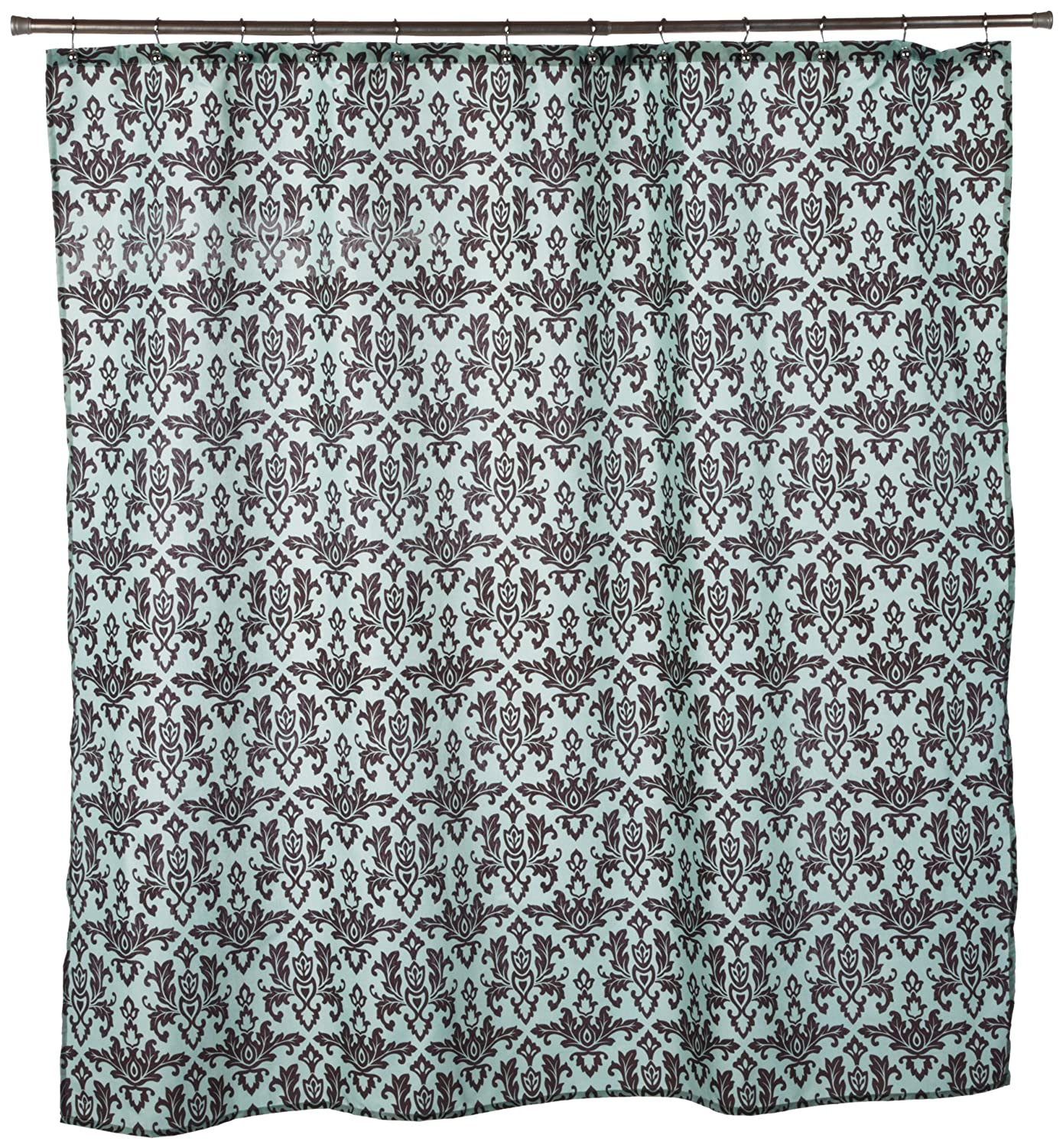 Teal and black shower curtain - Amazon Com Carnation Home Fashions Damask Fabric Shower Curtain Chocolate On Green Home Kitchen