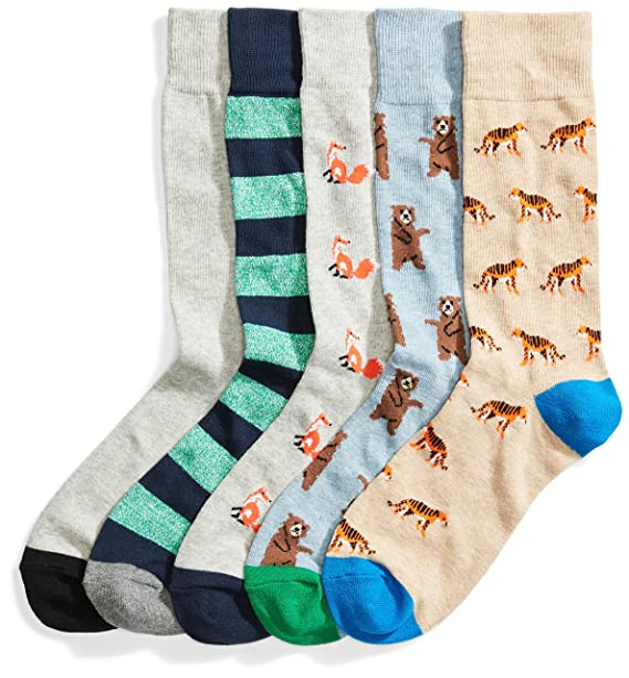 40678fcf0a Amazon.com: Goodthreads Men's 5-Pack Patterned Socks, Assorted Animals  Green, Shoe Size: 8-12: Clothing