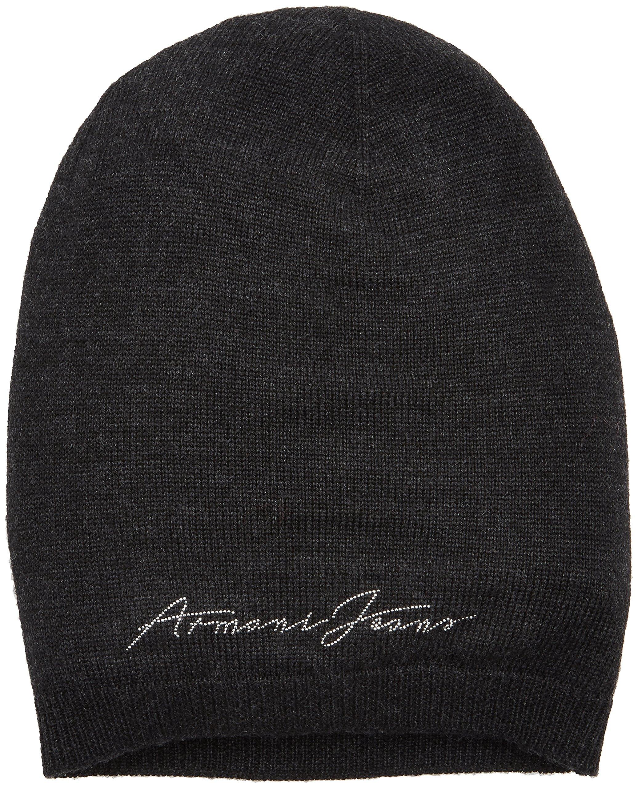 Armani Jeans Women's Logo Knit Beanie, Dark Grey, One Size